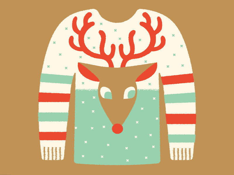 Ugly Sweater Day illustration knit shirt rudolph reindeer festive ugly holiday christmas sweater