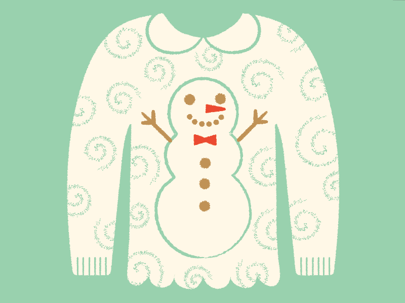 Ugly Sweater Day illustration pattern shirt snow snowman ugly holiday christmas sweater