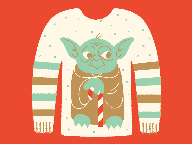 Ugly Sweater Day illustration shirt star wars candy cane yoda festive ugly holiday christmas sweater