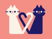 Kitties love kitten cute heart valentine cats vector illustration