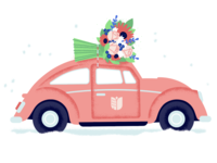 Season's Greetings bloom flowers illustration snow bouquet vintage christmas holiday car floral