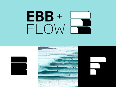 Ebb & Flow rejected icon waves tides surfing logo branding design