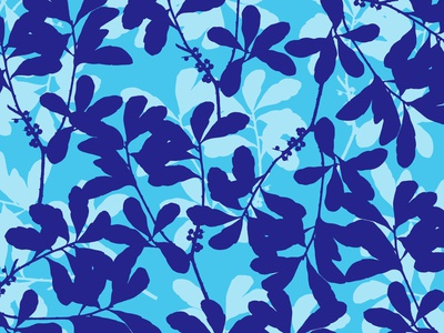 Blue White Foliage flower garden botanical illustration botanical art floral abstract pattern design pattern pattern designer design