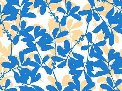 Blue Yellow Foliage garden abstract pattern flower botanical illustration botanical art floral pattern design pattern designer design