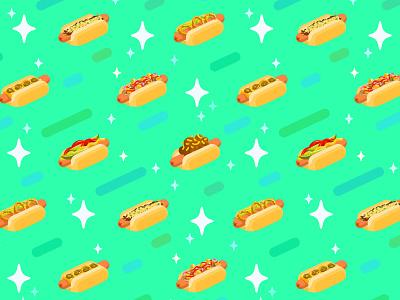 Hot Doggery hotdogspace space vector pattern illustration fun latenight junkfood food hotdog