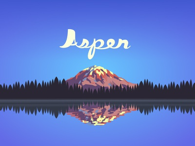 Aspen script lake mountain illustration typography