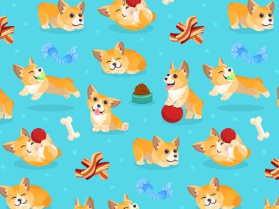 Corgi Pattern bacon play fun vector pattern illustration dogs corgi