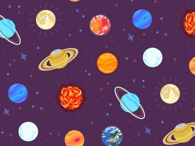 Space Pattern earth mars venus jupiter sun moon astronomy science stars planets space illustration