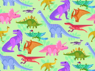 Dinos! triceratops stegosaurus raptor trex pattern colorful vector design dinosaur illustration