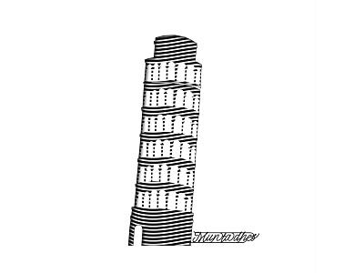 Pisa tower line art logo graphic design line art muntadher saleh