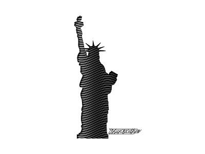 The liberty statue line art illustration design logo inspiration iraq muntadher saleh