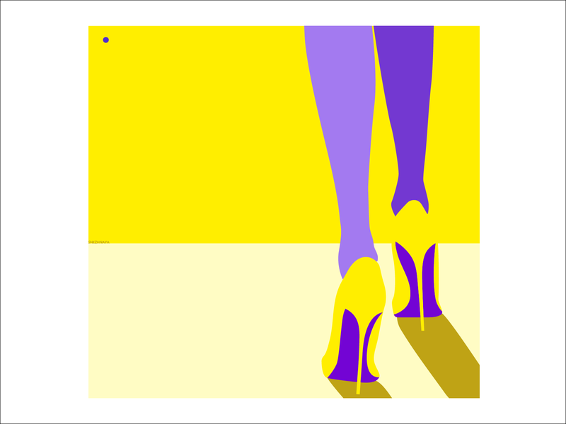 HI:HEELS | S1:E4 walk summer woman lady heels high heels city landscape flat minimal clean illustration