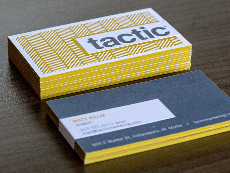 Tactic Business Cards business cards letterpress edge painting sticker