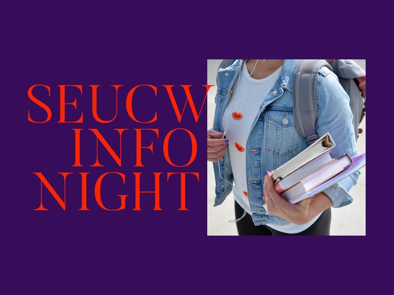 SEUCW Info Night Proposal crosswalk christian church serifs minimal red purple event school college serif