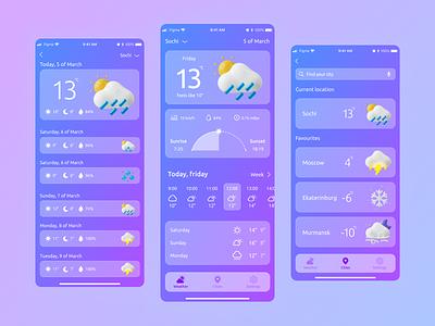 Weather App application ui ux minimal ui 3d art 3d design weather app weather application app design app