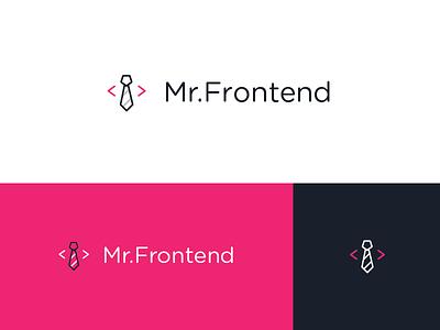 Mr.Frontend Logo tie dark blue pink branding logo front-end development
