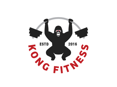 Kong Fitness Logo lifting weights logo gorilla gym