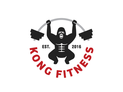 Kong Fitness - Updated weights logo lifting gym gorilla
