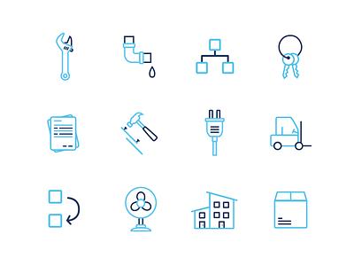 Motili brand icons hvac services keys hammer wrench dark blue light blue branding icons motili