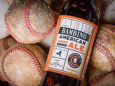 Bambino American Amber Ale bambino wood baseball vintage orange label bottle 6 pack craft brewery beer packaging branding