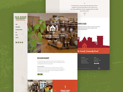 Old Barn Market Homepage redesign illustration digital homepage vintage rustic orange red green market barn old