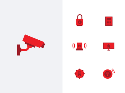 Security icon set fire detection building automation home monitoring key pad security access alarm camera one color red icon set icons