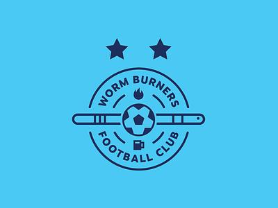 Worm Burners FC fire football club worm burners worm crest emblem patch soccer