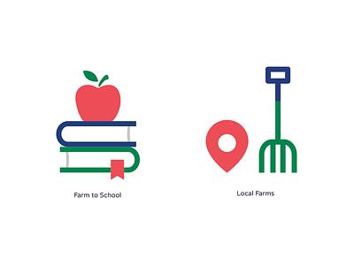 Farm School Icons blue green red icon local apple farm