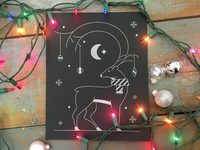 Holiday Mailer silver black letterpress holiday card reindeer line drawing illustration night cold holiday winter