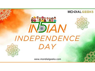 Indian Independence Day 15august indianindependenceday tiranga mondialgeeks designinpiration graphic design design tricolour green white saffron wordplay independenceday india