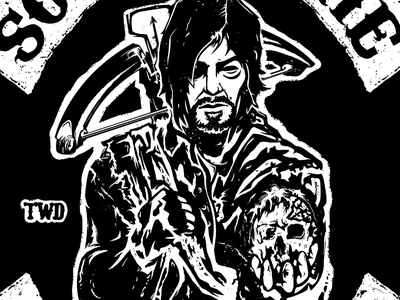 Sons of the Walking Dead soa sons of anarchy the walking dead amc zombie daryl dixon daryl dead texture illustration