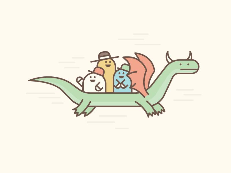 Enjoy Your Commute! dragon illustration