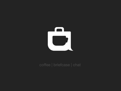 Coffee | Briefcase | Chat coffee briefcase chat business logomark mark logo negative space illustrations