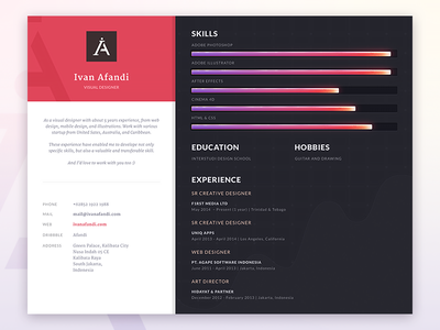 Resume resume cv skills education hobbies line level graph illustration design visualdesigner