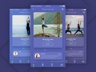 Be Yoga selfimprovment comments trainings trainer zen purple yoga ios ux ui