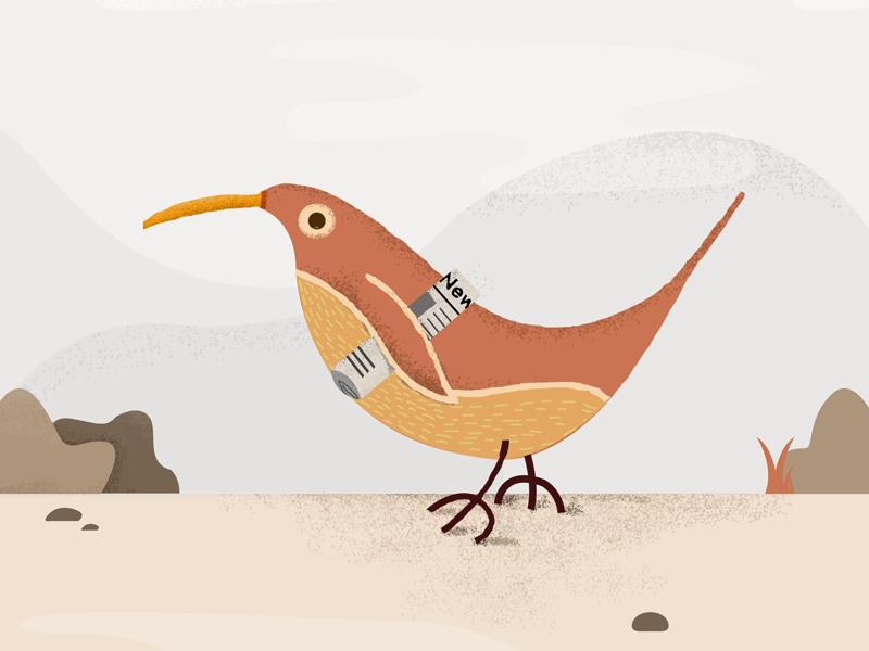 Bird vintage illustration newspaper bird