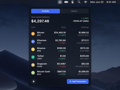 Crypto Tracker - Concept Widget mac dark ux coin market ethereum coinmarketcap wallet crypto wallet trading cryptocurrency crypto apple macos widget app ui