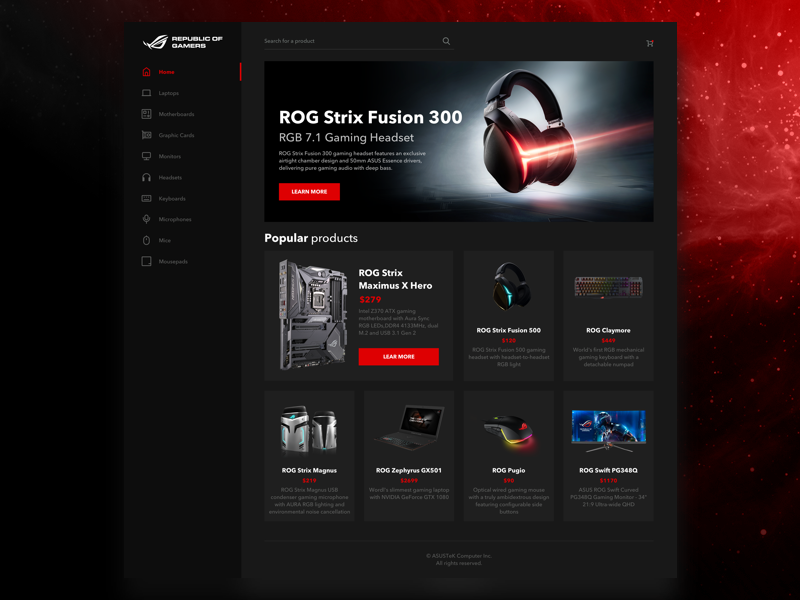 ASUS ROG Store concept bootstrap gaming it grid shop ui store concept gamers asus
