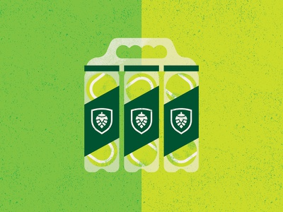Hopspin 6-pack beer tennis illustration