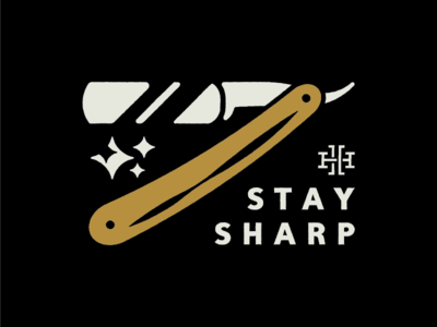 Stay Sharp barber straight razor razor tagline illustration