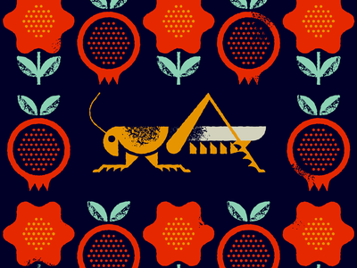 mewithoutYou mewithoutyou locust insect animal flower fruit pomegranate nature pattern illustration