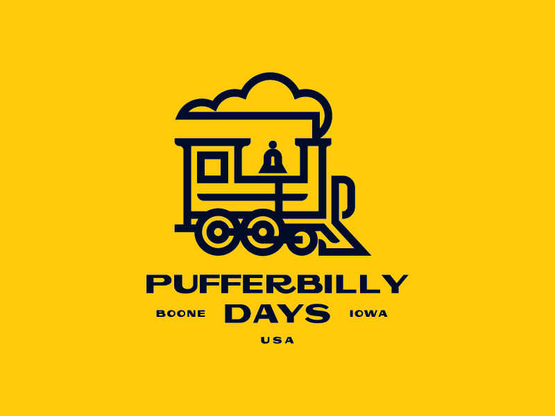 Pufferbilly Days logo railroad train icon mark identity branding brand