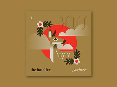 "Five Sixteen — The Hotelier ""Goodness"" nature clouds plant flower animal illustration series music album art art album"