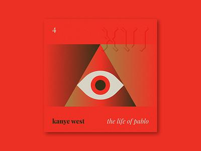 "Five Sixteen — Kanye West ""The Life of Pablo"" gradient triangle symbol eye logo typography blackletter illustration series music art album"
