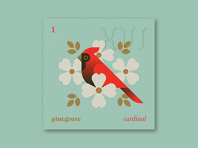 "Five Sixteen — Pinegrove ""Cardinal"" nature flowers cardinal bird illustration series music album art art album"