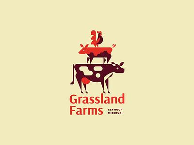 Grassland Farms  illustration chicken rooster pig cow nature animals farm identity brand logo