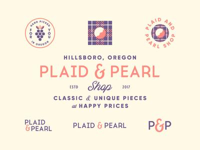 Plaid & Pearl oregon shop plaid pearl typography type identity brand logo