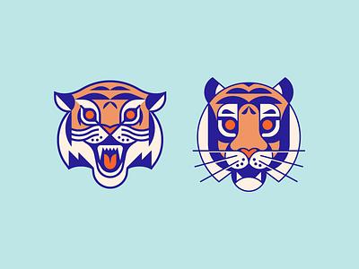 Tiger heads logo illustration animal cat tiger