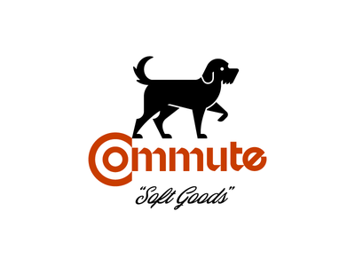 Commute Soft Goods type custom dog illustration identity brand logo
