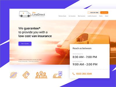 Home page design for Van Line Direct trade vehicle insurance artistmichi designway ui design ux ui design home direct line van